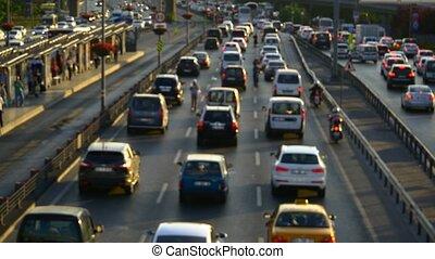congestion, foyer, trafic, dehors