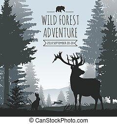 conifère, vie sauvage, animaux, pins, arbres, silhouettes, vecteur, forêt, fond, brumeux