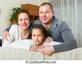 conjugal, famille, intérieur, sourire