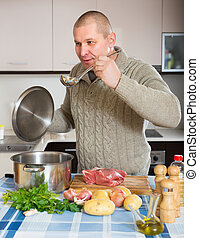 conjugal, homme, cuisine