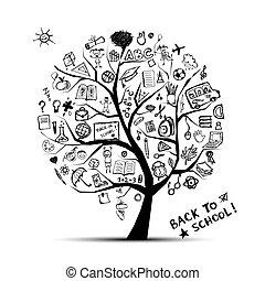 connaissance, concept, arbre, école, conception, ton