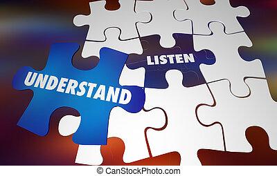 connaissance, puzzle, illustration, comprendre, mots, apprendre, écouter, 3d