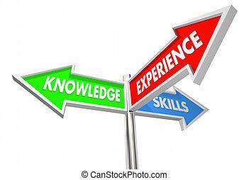connaissance, techniques, trois, illustration, 3, expérience, manière, signes, 3d