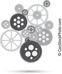 connecté, business, whith, frrame, concept., recherche, vecteur, engrenage, concepts., seo, engrenages, mécanisme, service, communiquer, icônes, stratégie, numérique, résumé, texte, analytics, fond, illustration, commercialisation