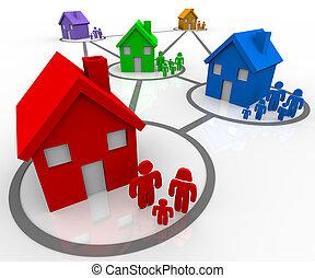 connecté, familles, voisinages