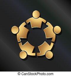 connecté, gens, circle., fort, collaboration, icône, vecteur, doré, 5