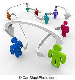 connecté, réseau, gens