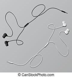 connecteur, écouteurs, vecteur