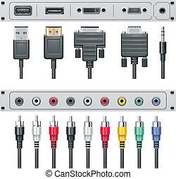 connecteurs, vecteur, vidéo, audio