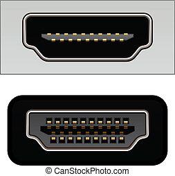 connecteurs, vecteur, vidéo, hdmi, numérique