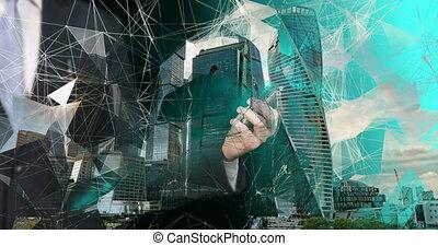 connection., médias mélangés, technologies