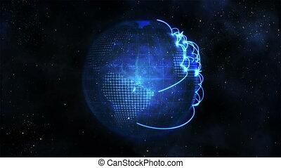 connexion, animé, la terre, bleu