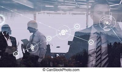 connexion, contre, café, boire, icônes, homme affaires, bureau, réseau
