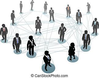connexion, gens, noeuds, business, réseau