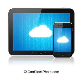 connexion, moderne, nuage, appareils, calculer