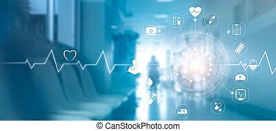 connexion, monde médical, réseau, écran, médecine, interface, fond, virtuel, hôpital, icône, concept, technologie, moderne