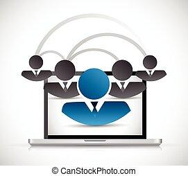 connexion, réseau informatique, gens