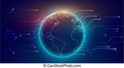 connexion, réseau, stylique numérique, global, technologie, fond
