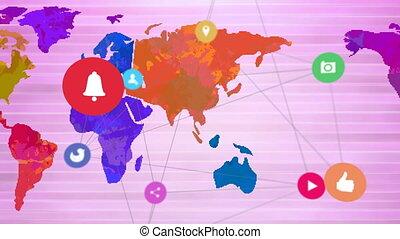 connexions, animation, planisphère, réseau