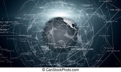 connexions, la terre, réseau global, autour de