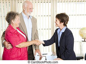 conseiller, réunion, aînés, financier