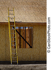 conseils, échelle, site, jaune, construction, rugueux
