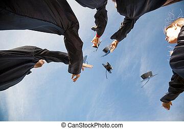 conseils, étudiants, mortier, remise de diplomes, air, lancement, jour