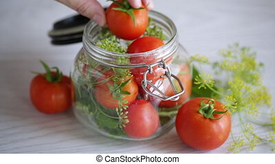 conservation, épices, naturel, tomates, préparé