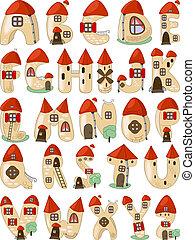 consiste, alphabet, latin, dessin animé, maisons