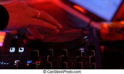 console, dj, boîte nuit, musique, mélange