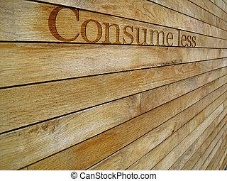 consommer, bannière, concept, moins, message
