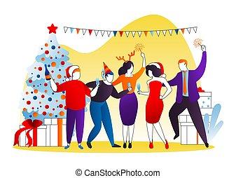 constitué, vecteur, business, caractère, femme, nouveau, amusement, homme, célébration, fête, groupe, noël, dessin animé, gens, heureux, year., vacances, célébrer, illustration.