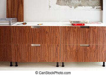 construcion, moderne, noix, bois, conception, cuisine