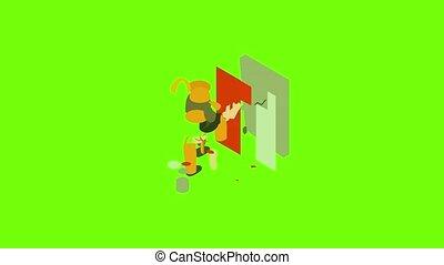 constructeur, animation, icône, peintre