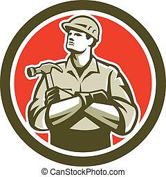 constructeur, charpentier, bras croisés, retro, cercle, marteau
