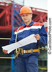 constructeur, construction, traite, site, ingénieur