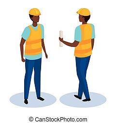 constructeur, isométrique, côté, homme, conception, vecteur, devant, dos