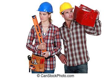 constructeur, mâle, femme