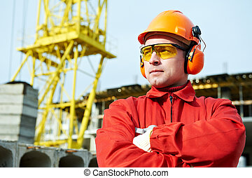 constructeur, ouvrier construction, site