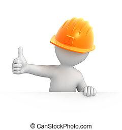 constructeur, pouce haut