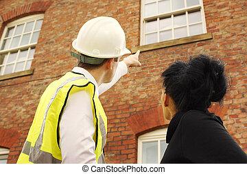 constructeur, propriétaire, regarder, arpenteur, propriété, ou
