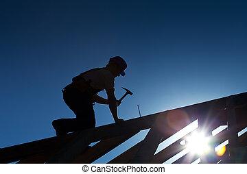 constructeur, toit, charpentier, fonctionnement, ou