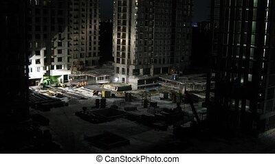 constructeurs, défaillance, emplacement travail, temps construction, nuit