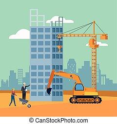 constructeurs, fond, sous, paysage, enginner, excavateur, fonctionnement, construction