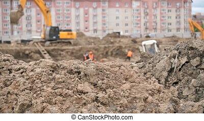 constructeurs, travail, grand, construction, argile, fosse