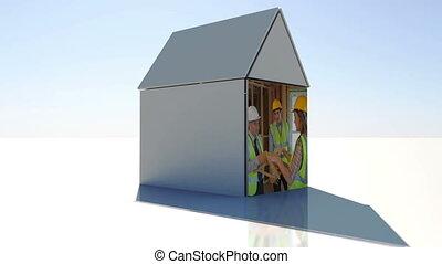 construction, bâtiment, montage, w