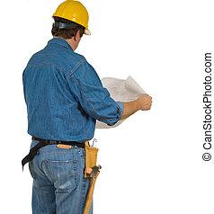 construction bâtiments, plans, homme, réexaminer