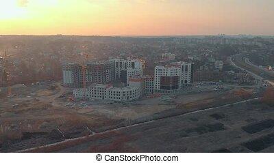 construction bâtiments, site, résidentiel