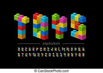 construction, blocs, police, plastique
