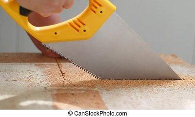 construction, bouclier, scies, home., usages, concept, grand plan, scie main, ouvrier, bois